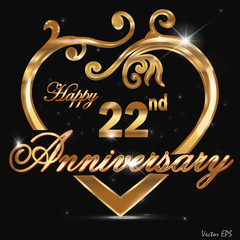 22  year anniversary golden heart design