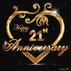 21 year anniversary golden heart design card