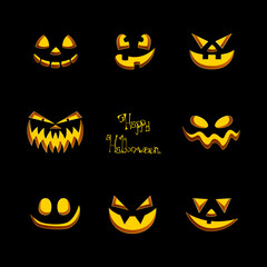Vector Illustration of Scary Halloween Pumpkin Faces