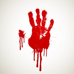 Vector Illustration of a Bloody Hand Print