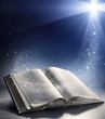 Open Bible with the wind of God's word - 66892376