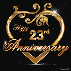 23 year anniversary golden heart design card