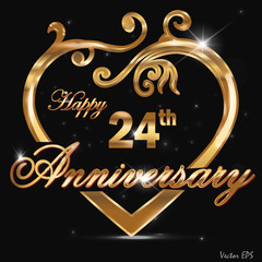 24 year anniversary golden heart design card