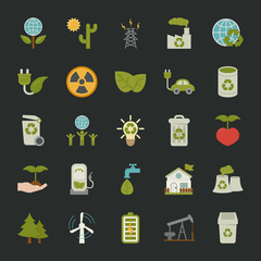 Green eco icons set ,