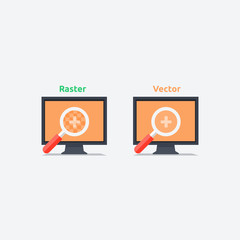 Difference between vector and raster format