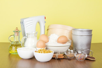 Set of products and an Easter cake baking dish