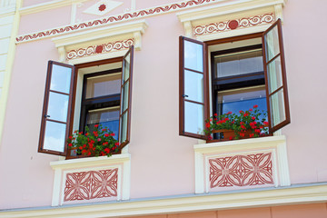 Windows on old facade in Skofja Loka