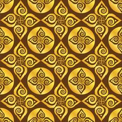 gold leaf pattern on brown background