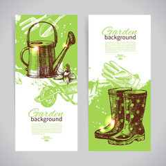 Set of sketch gardening banner templates. Hand drawn vintage ill