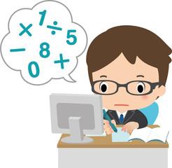 デスクで計算するビジネスマン