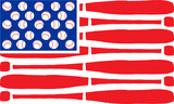 Fototapety American flag made of bats and balls. Vector
