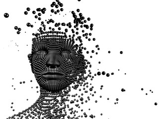 3d Conceptual image of  woman composed of balls