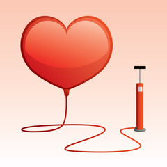 heart shaped balloon with tire pump