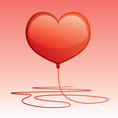 vector of red heart shaped balloon