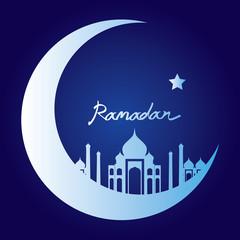 white silhouette of masjid on moon, ramadan