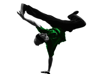 young acrobatic break dancer breakdancing man silhouette