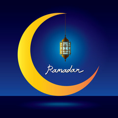 ramadan kareem, lantern on crescent moon