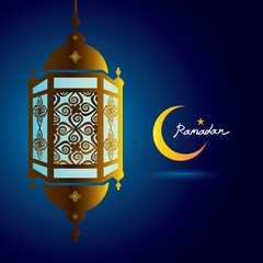 ramadan kareem, lantern with crescent moon