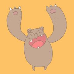 cute bear, vector illustration, hand drawn