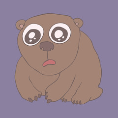 cute bear, vector illustration, hand drawn