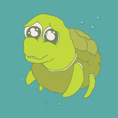 Cute turtle cartoon, vector illustration, hand drawn