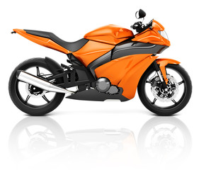 3D Image of an Orange Modern Motorbike