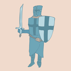 Cute  Knight. Cartoon knight. vector illustration hand-drawing