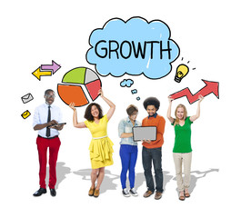 Group of People with Growth Diagrams