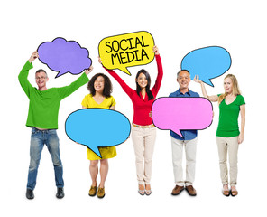 People Holding Colorful Speech Bubbles Social Media Concept