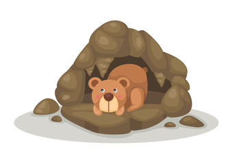 bear sleeping in cave vector
