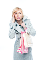 young attractive woman with shopping bags