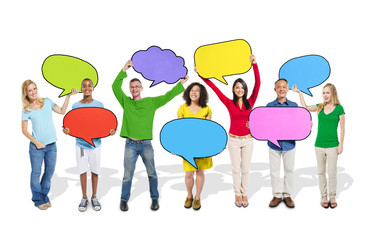 Diverse People Holding Colorful Speech Bubbles