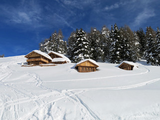 chalets and mountain houses in the middle of the snow high in th