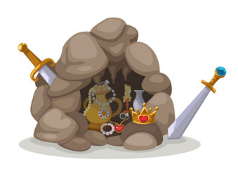 treasure cave vector
