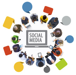 Multiethnic Group of People with Social Media Concept