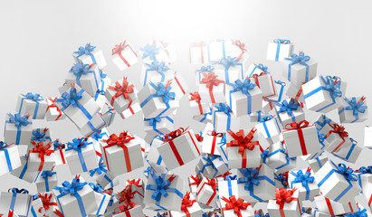 Red and blue 3d Gift box illustration