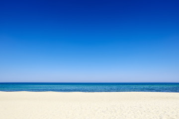 Summer blue sky sea coast sand background copyspace.