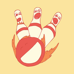 Bowling vector illustration, hand-drawing  pattern
