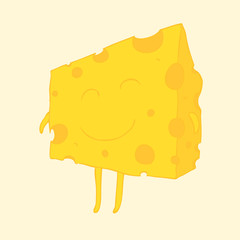 Piece of cheese vector illustration, hand drawn