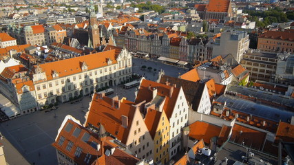 Aerial view of Wroclaw old town square, Poland