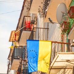 EU and Ukrainian flag on building in Odessa, Ukraine