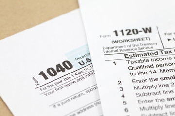 Financial business document US income tax form