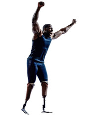 handicapped man runners sprinters with legs prosthesis silhouett