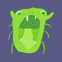 ugly monster vector illustration, hand drawn