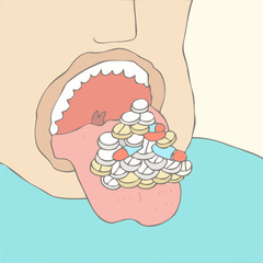 swallowing pills vector illustration, hand drawn