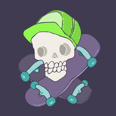 skull and skateboard vector illustration, hand drawn