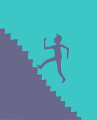 up stairs (running businessman) vector illustration