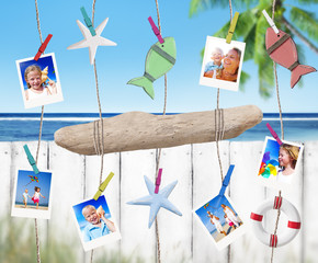 Family Pictures and Objects Hanging by the Beach