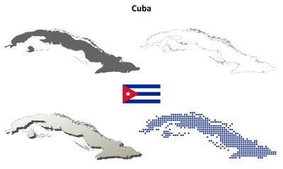 Cuba blank detailed outline map set