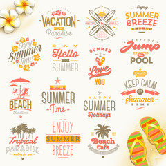 Set of summer holidays, vacation and travel  type design